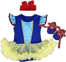 OBEEII Vestido de Halloween Mermaid para Bebe Niña Sin Manga Romper Dress Trajes de Mamelucos Sirena para Ceremonia Carnaval Cosplay 3Piezas Ropa Diadema Zapatos 0-18 Meses