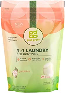 Grab Green Natural 3 in 1 Laundry Detergent Pods, Gardenia—With Essential Oils, 24 Loads, Organic Enzyme-Powered, Plant & Mineral-Based