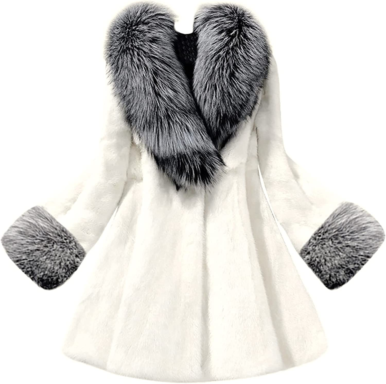 CCRFTGI Fluffy Faux Fur Coats for Women with Fur Hood Fuzzy Fleece Winter Warm Coat Open Front Outwear