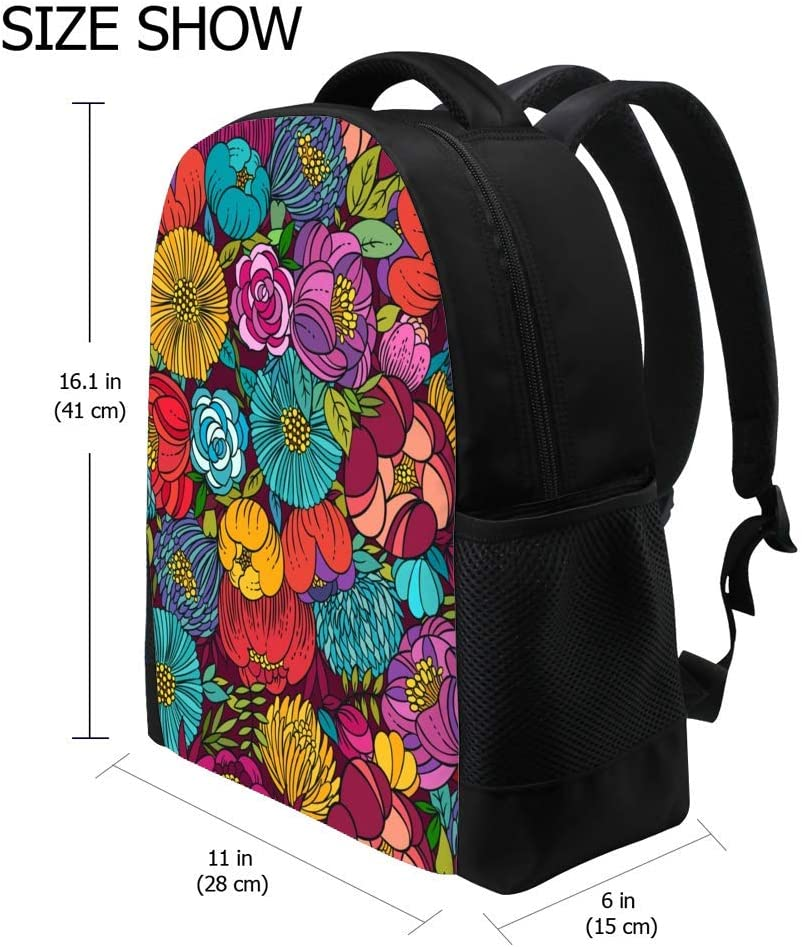 ZHONGJI Schoolbag Backpack Computer Bag Lightweight Durable Beautiful Floral Pattern Student College Travel Work Business Camping Outdoor