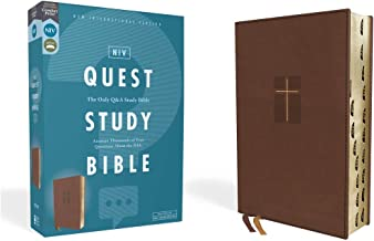NIV, Quest Study Bible, Leathersoft, Brown, Thumb Indexed, Comfort Print: The Only Q and A Study Bible