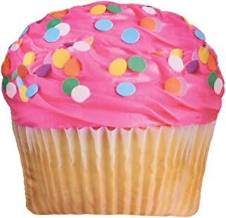 "iscream Sugar-riffic! Pink Icing Cupcake 17"" x 17"" Photoreal Print Microbead Accent Pillow"