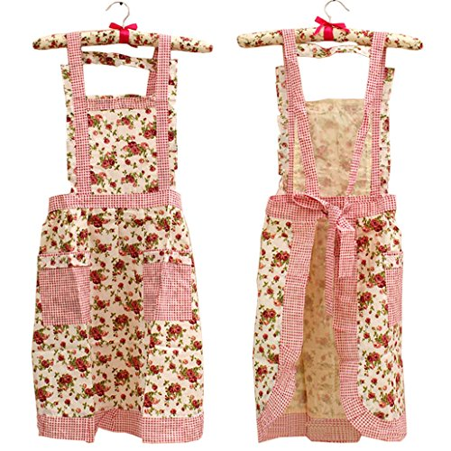Hyzrz Stylish Flower Pattern Women's Fashion Floral Cotton Chef Cooking Cook Apron Bib with Pockets 3#