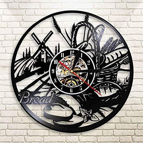 UIOLK Reloj de Pared con Disco de Vinilo para Pan, Regalo para Amantes, decoración de Cocina, Reloj de Vinilo Retro, Mural de panadería