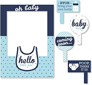 Big Dot of Happiness Hello Little One - Blue and Silver - Boy Baby Shower Selfie Photo Booth Picture Frame & Props - Printed on Sturdy Material