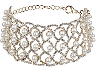 Fstrend Crystal Pearls Choker Necklace Silver Sparkly Rhinestone Chain Nightclub Prom Jewelry Accessories for Women and Gi...