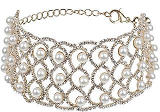 قلادة Fstrend مرصعة باللؤلؤ الكريستالي سلسلة فضية لامعة حجر الراين سلسلة ملهى ليلي مجوهرات وإكسسوارات للنساء والفتيات (ذهبي)