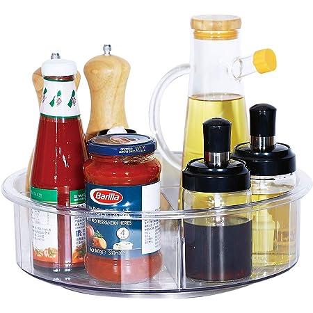 Lazy Susan - Organizador giratorio para gabinetes, 360 estantes giratorios de plástico transparente con divisores, organizador de maquillaje giratorio para encimera, despensa, cuarto de baño