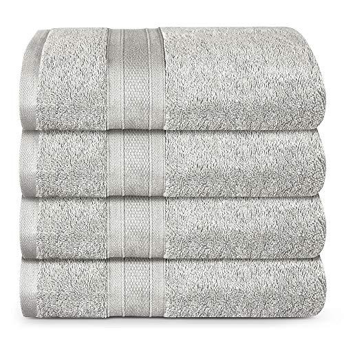TRIDENT Suave y Felpa, 100% algodón, Muy Absorbente, súper Suave, Juego de Toallas de baño de 4 Piezas, 500 gsm, Plata