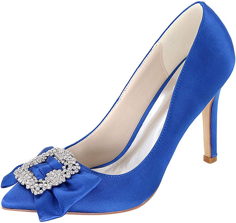 OEYW Hochzeitsschuhe für die Braut High Heel Blau Satin Hochzeit Kristall Schuhe Prom Party Schuhe für Frauen Kleid Schuhe