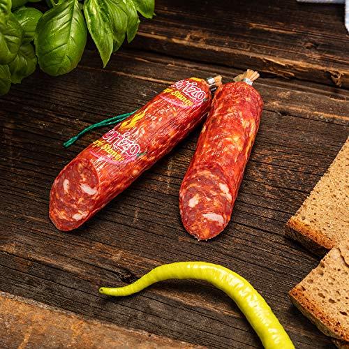 WURSTBARON® - Chorizo Salami Wurst extra scharf - Spezial-Gewürz mit ca. 3 Mio Scoville - ganze Wurst Stange 200 g
