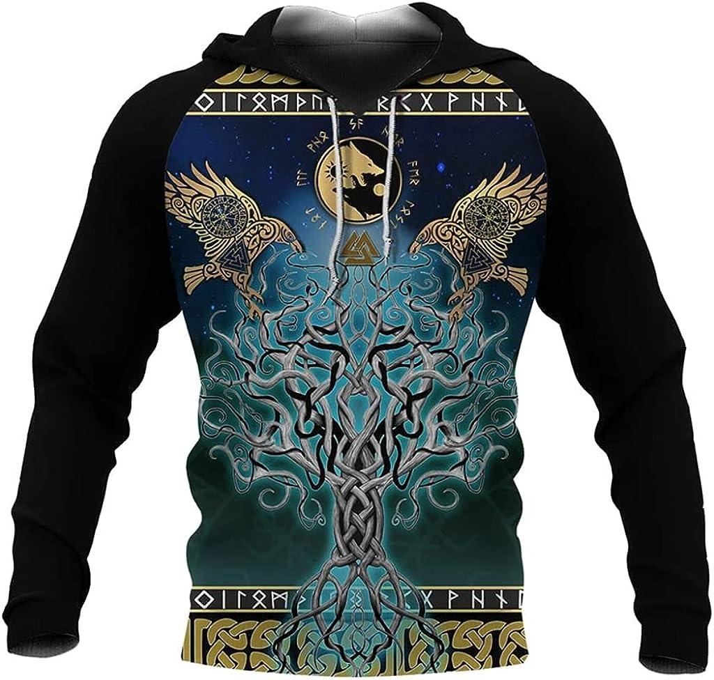 Viking Fall Hoodie 3D Printing Harajuku Style with Big Pockets Couple Hoodies Casual Loose Zip Sweatshirt Fashion Coat