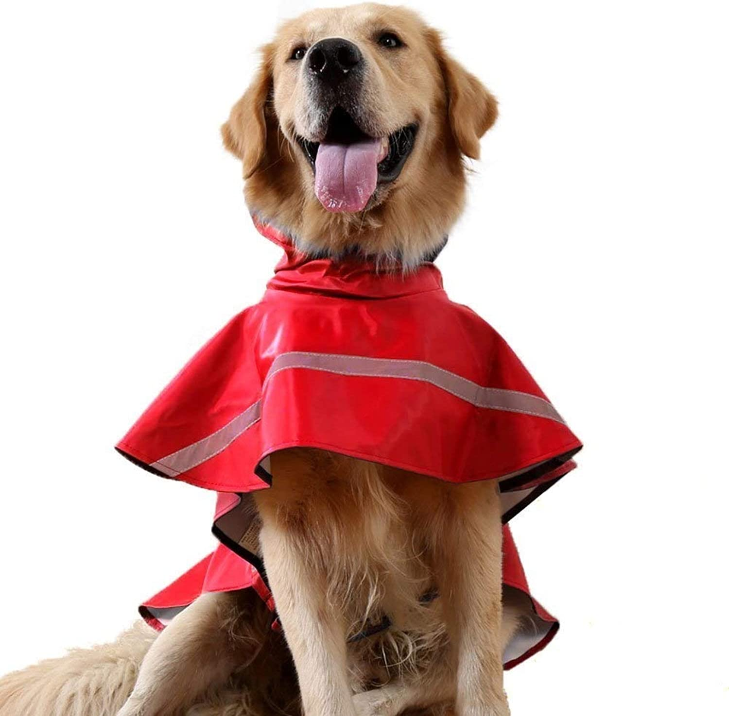 b9fc7bf0bf7a3 Raincoat Red Adjustable Pet Dog Raincoat with Reflective Safe Strips ...
