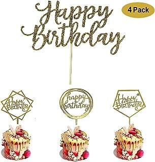 4 Pack Happy Birthday Cake Topper Acrylic, Birthday Cake Topper Birthday Decorations,1st First Happy Birthday