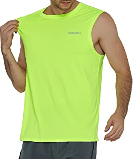 DEMOZU Men's Performance Muscle Sleeveless Shirts Quick Dry Running Athletic Gym Workout Training Tank Top