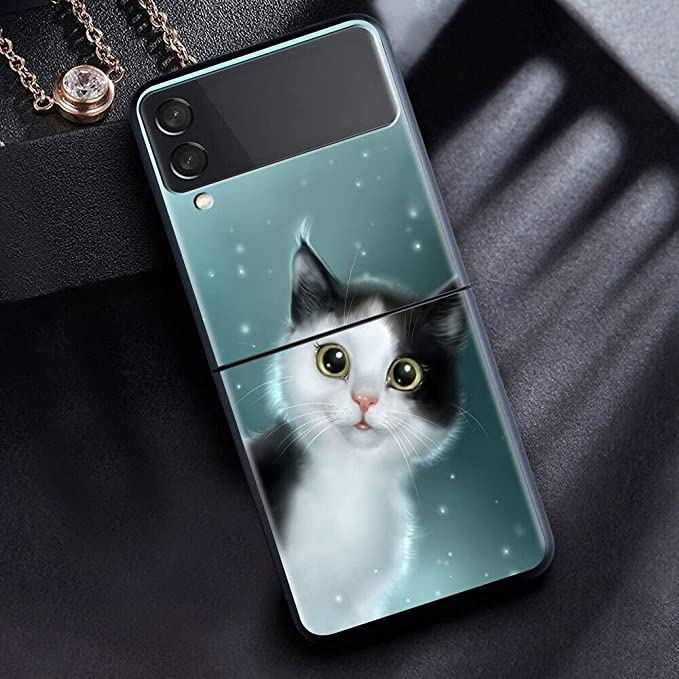 The Case for Samsung Galaxy Z Flip 3 Case Phone Cover Hard PC Fundas for Samsung Z Flip3 5G Case Cute Animal Cat ZFlilp 3 ZFlip3 Bag (1, Galaxy Z Fip 3)