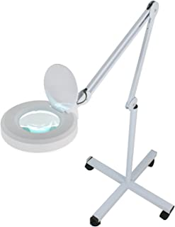 Super Deal Magnifier Lamp 5X Floor Magnifying Lamp - Adjustable Swivel Arm - Daylight Bright - Adjustable Mag Light - Rolling Stand