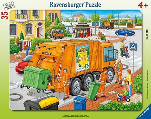 Ravensburger Kinderpuzzle - 06346 Müllabfuhr - Rahmenpuzzle für Kinder ab 4 Jahren, mit 35 Teilen