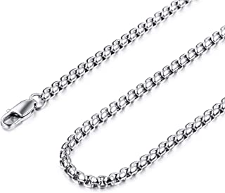 MOWOM Silver Color Mens Chain Necklace for Women Men Boys Girls Kids Water Resistant Stainless Steel Rolo Cable Popcorn Ch...