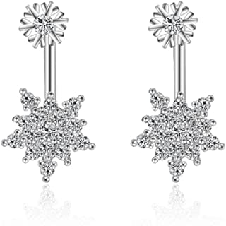 Double Snowflakes Stud Jacket Earrings with White Zirconia Crystals 18 ct White Gold Plated for Women