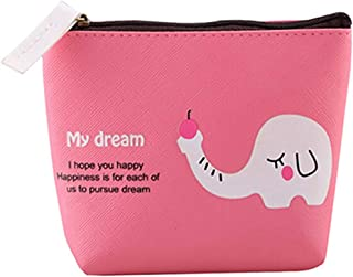 Luxurious Women's Zip Wallet Coin Pocket Key Holder Case Bag Purse,Colour:Rose-red (Color : Rose-red)