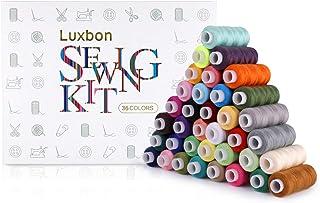 comprar comparacion Luxbon 36 Hilos de Coser de Colors Surtidas 250 Yardas Poliéster Conjunto de Hilos Costura para Bordado Tejido, Costura a ...