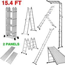 Finether 15.4Ft Folding Ladder Multi-Purpose Aluminium Extension Ladder EN131 Certified Step Ladder Platform Ladder Straight Ladder Heavy Duty Combination with Safety Locking Hinges and 2 Panels