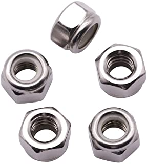 3//8-16 Nylon Insert Hex Lock Nuts Bright Finish,304 Stainless Steel 18-8 10 PCS