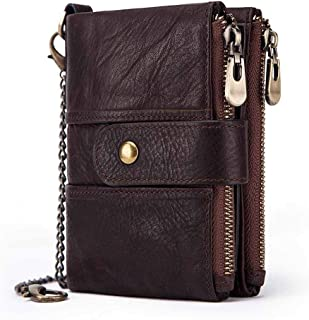 Leather Bag Mens Leather Wallet, Anti-Theft Wallet, Multi-Card Women's Purse, Anti-Theft Leather Wallet,RFID Leather Wallet High Capacity (Color : Brown, Size : S)