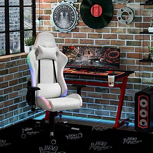Sillas De Oficina Silla para Juegos con Luz Led RGB, Brazo, Sillón Reclinable Giratorio para Juegos De Oficina, Blanco, Cómodo Y Suave