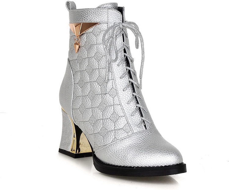 WeenFashion Women's PU High-heels Round-toe Boots with Metal Heels
