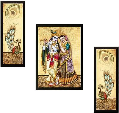 SAF UV Textured Radha Krishna Printed Print Framed Painting Set of 3 for Home Decoration – Size 35 x 2 x 50 cm SANFFSA7724