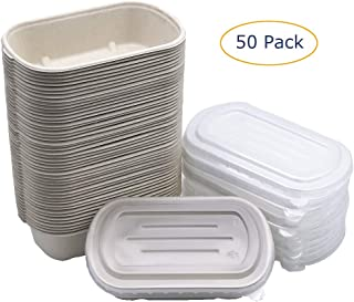 [50 Pack] 32oz Eco-Friendly Disposable Bowls with Lids - Biodegradable Paper Bowls To Go - Portable Serving Bowl Set to Pack Foods