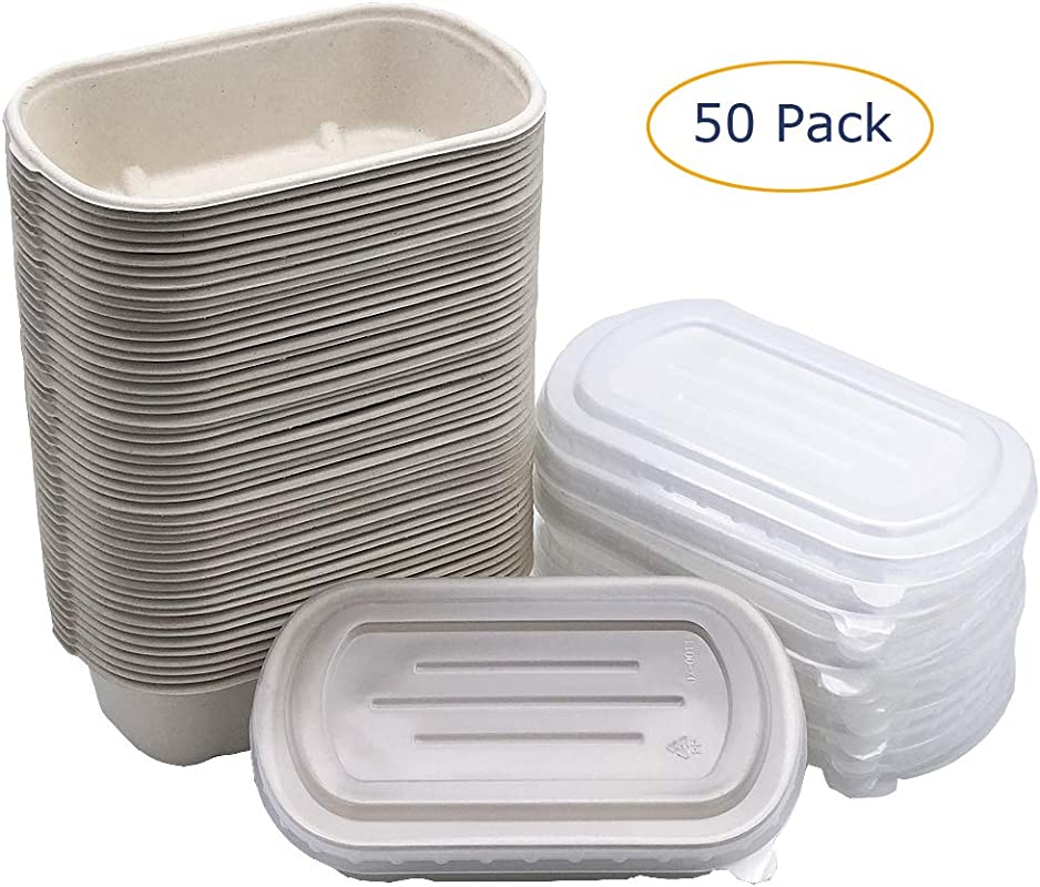 Brightalk 50 Pack 24oz Eco Friendly Bowls With Lids Recyclable Paper Bowls To Go Portable Serving Bowl Set To Pack Foods