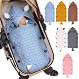 Winmany Newborn Baby Blanket Swaddle Baby Sleeping Bag Stroller Wrap Soft Warm Crochet Knitted Blanket for Infant Toddlers (Blue)