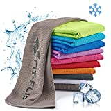 Fit-Flip Kühlendes Handtuch 100x30cm, Mikrofaser Sporthandtuch kühlend, Kühltuch, Cooling Towel, Mikrofaser Handtuch, Farbe: grau, Größe: 100x30cm