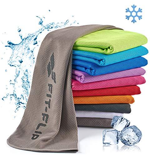 Fit-Flip Toalla de enfriamiento 100x30cm, Toalla de Deporte refrescante, Toalla fría, Cooling Towel, Toalla de Microfibra – Color: Gris, tamaño: 100x30cm