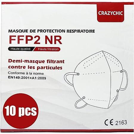 CRAZYCHIC - Mascarilla FFP2 Certificada CE EN149 - Mascarilla de Protección Respiratoria - Protectora Respirador Antipolvo Homologada - Alta filtración - Entrega Rápida