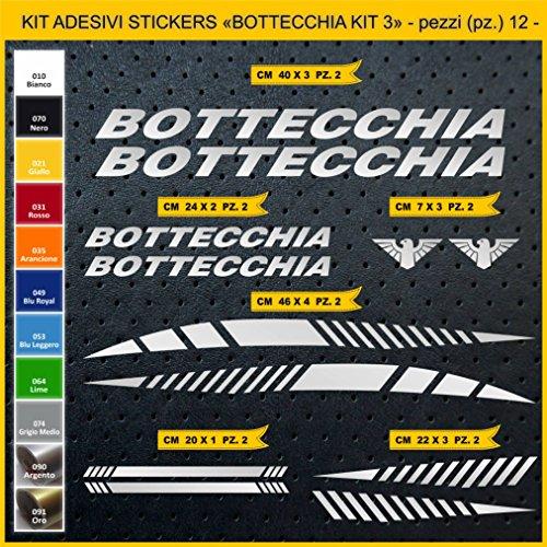 Adesivi Bici BOTTECCHIA_Kit 3_ Kit Adesivi Stickers 12 Pezzi -Scegli SUBITO Colore- Bike Cycle pegatina cod.0848 (090 Argento)
