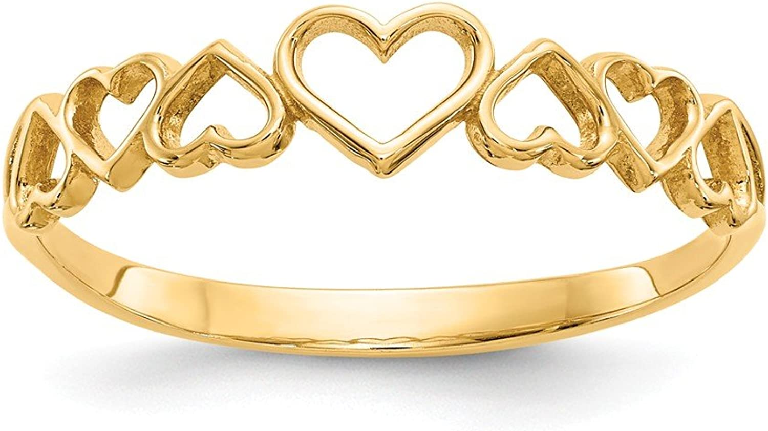 14k Yellow gold Hearts Ring for Women Size 7