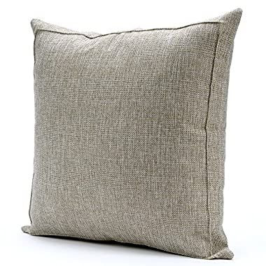 Jepeak Burlap Linen Throw Pillow Case Cushion Cover Farmhouse Decorative Solid Square Pillowcase, Thick, Luxury, Handmade with Invisible Zipper for Sofa Couch Bed (16 x 16 Inches, Flax Grey)