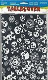 Folat Halloween Pappgeschirr Totenköpfe Tischdecke schwarz-Weiss 130x180cm Einheitsgröße