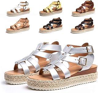 Sandales Compensees Femme Ete Espadrille Femmes Chaussures Plateforme à Bout Ouvert Confort Noir Marron Blanc Léopard Jaun...