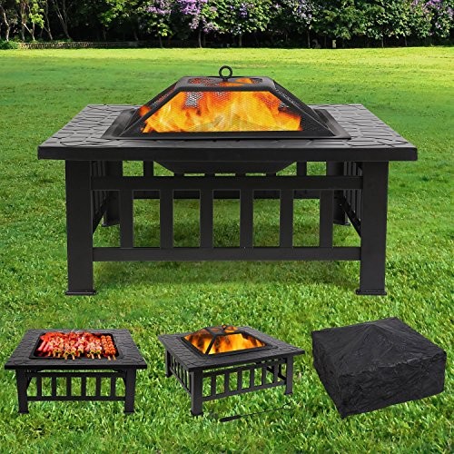 femor Upgraded Large 3 in 1 Fire Pit with BBQ Grill Shelf,Outdoor Metal Brazier Square Table Firepit Garden Patio Heater/BBQ/Ice Pit with Waterproof Cover (Fire Pit & Grill)