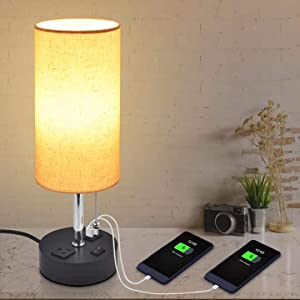 USB Bedside Table Lamp, Golspark Minimalist Nightstand Lamp with Charging Ports, Lamps for Bedrooms, Fabric Linen Lamp Shade, Modern Desk Lamp with Pull Chain (Round Table lamp)