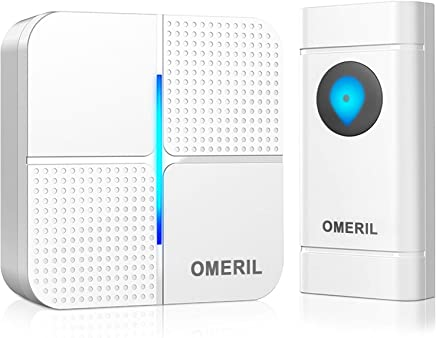 Wireless Doorbell, OMERIL IP55 Waterproof Door Bell Chime Kit with 1000ft Range, 52 Chimes, 4-Level Volume & Blue Light, Plug in Doorbells Wireless Cordless for Home, Office -Batteries Included