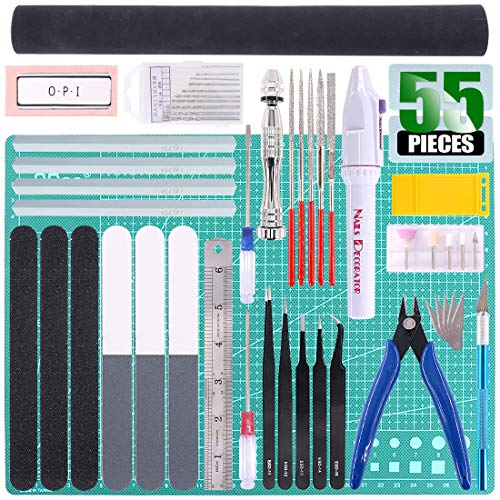 Keadic 55Pcs Professional Modeler Basic Tools Craft Set Hobby Building Tools Kit for Gundam Car Model Building Repairing and Fixing