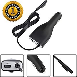 Surface Pro 4 Pro 3 Car Charger, 42W 12V 2.58A Power Supply for Microsoft Surface Pro 3 Pro 4 Pro 5 Pro 6 Surface Go Surface Laptop & Surface Book with 5V 2.1A USB Fast Charging Port