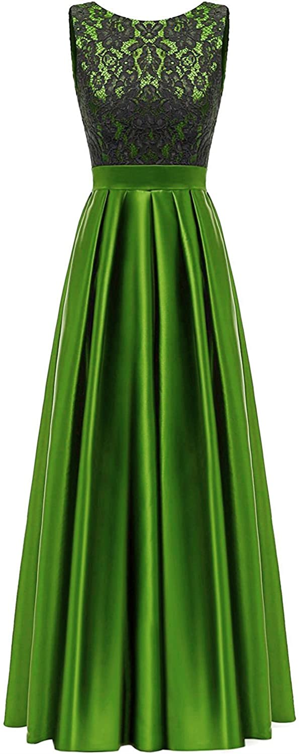 QY Bride Satin and Lace Mother of The Bride Dresses Long Evening Gown