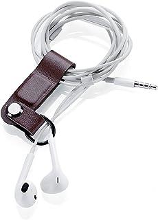 Kronya® | Läder hörlurshållare | fodral fitness hållare konsol in-ear kabel hörlurar stativ öronsnäckor on-ear organiserar...